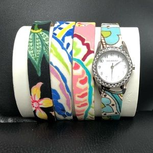 Vera Bradley Watch With 4 Interchangeable Bands